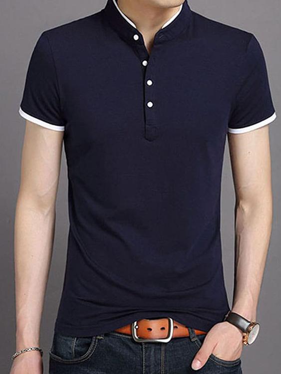假兩件式.韓版立領短袖POLO衫
