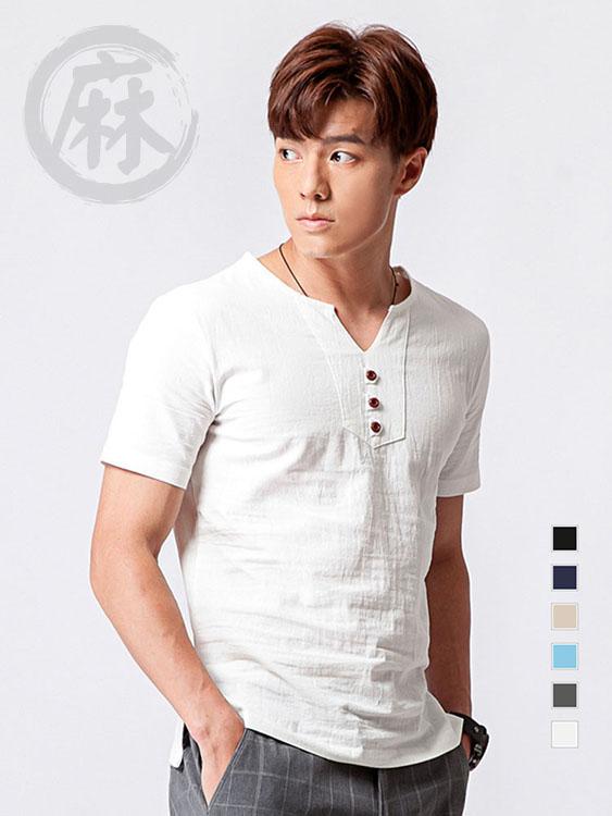 質感木扣.日系亞麻短袖