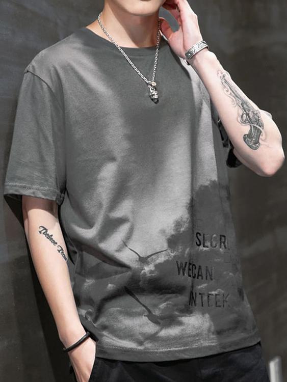 帥氣格調.海鷗印刷圖案短袖T恤