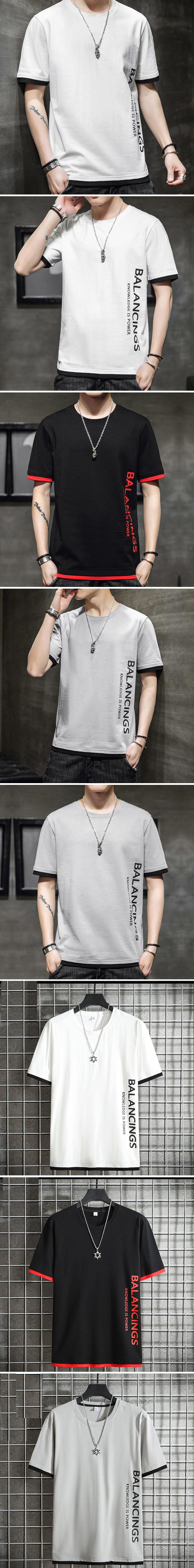側邊潮流英字.假兩件短袖T恤