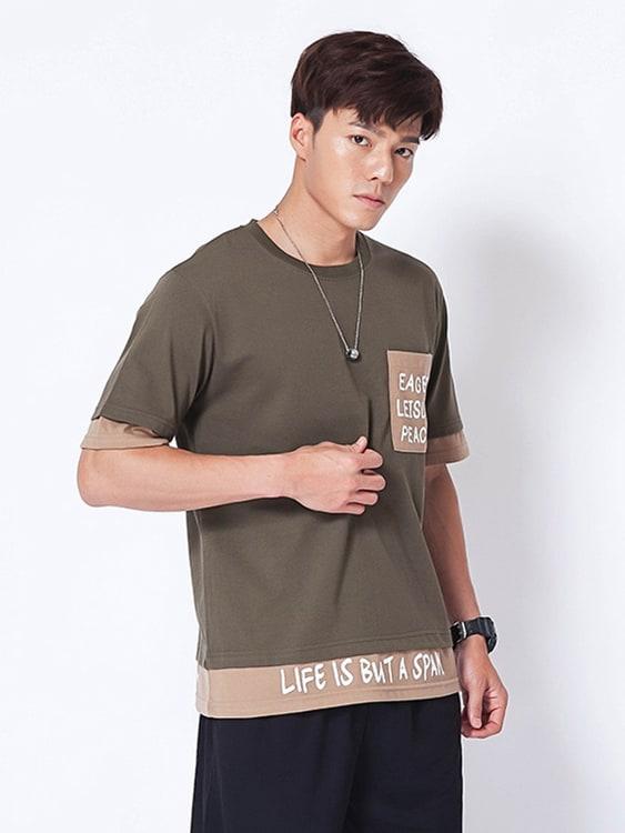 MIT撞色英字假兩件設計短袖T恤,,,01013672,MIT撞色英字假兩件設計短袖T恤,