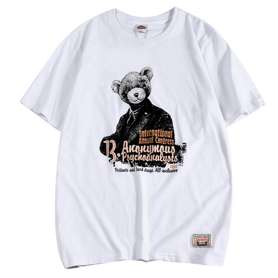 創意西裝熊 水洗磨毛短T,,,01013691,創意西裝熊水洗磨毛短T,