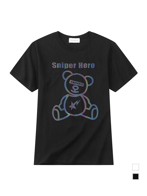 流星炫光熊印花短袖T恤,,,01013701,流星炫光熊印花短袖T恤,