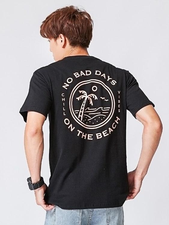 韓國海灘印花精梳棉短袖T恤