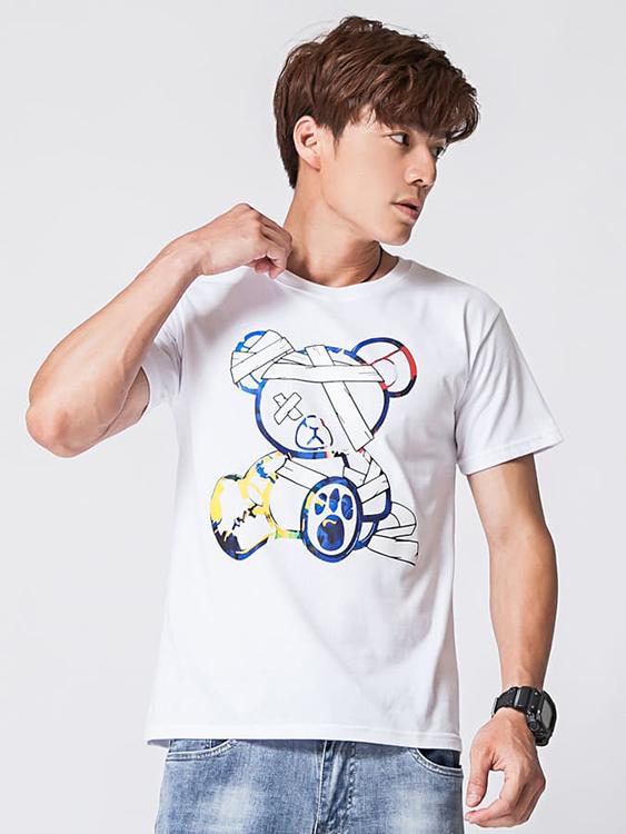 彩色繃帶熊印花潮流短袖T恤,,,01013713,彩色繃帶熊印花潮流短袖T恤,