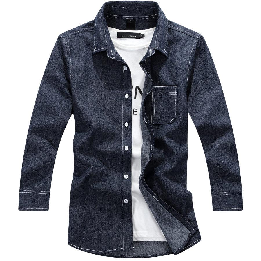 超好搭單品.白色縫線七分袖牛仔襯衫,,,01030600,超好搭單品.白色縫線七分袖牛仔襯衫,