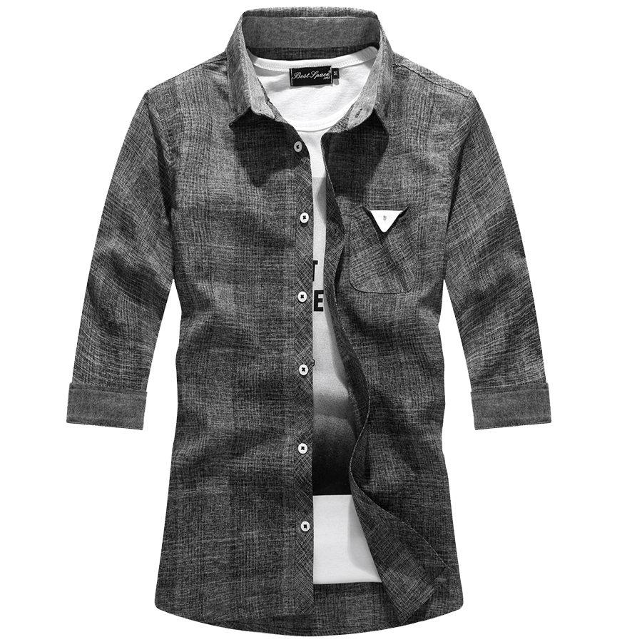 質感小三角標.混色七分袖格紋襯衫,,,01030601,質感小三角標.混色七分袖格紋襯衫,