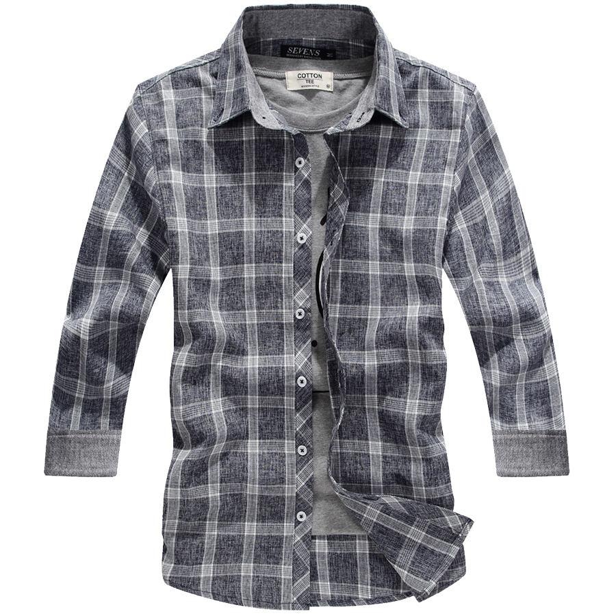 雅痞質感單品.撞色反摺袖格紋襯衫,,,01030602,雅痞質感單品.撞色反摺袖格紋襯衫,