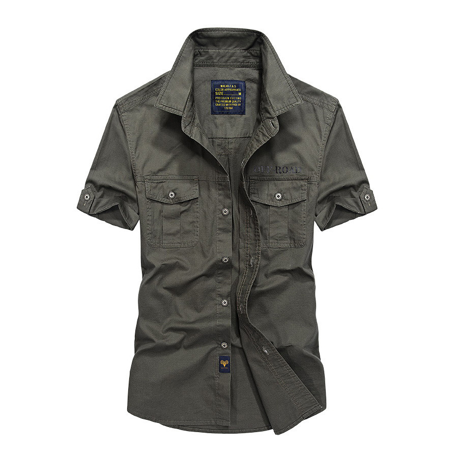 OFF-ROAD.臂釦設計軍裝短襯衫,,,01030626,OFF-ROAD.臂釦設計軍裝短襯衫,