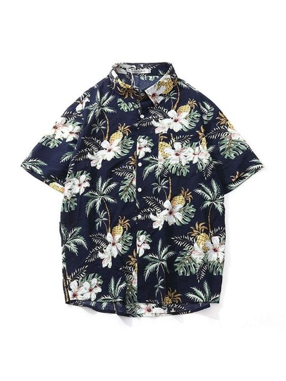 熱帶島嶼風情.印花短袖襯衫