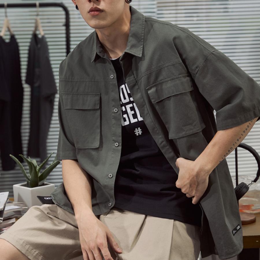 日系簡約.工裝短袖襯衫,,,01030648,日系簡約.工裝短袖襯衫,