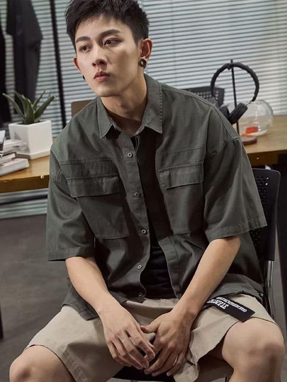 日系簡約.工裝短袖襯衫