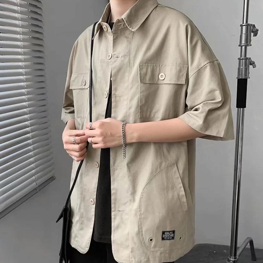 素面工裝.多口袋短袖襯衫,,,01030649,素面工裝.多口袋短袖襯衫,