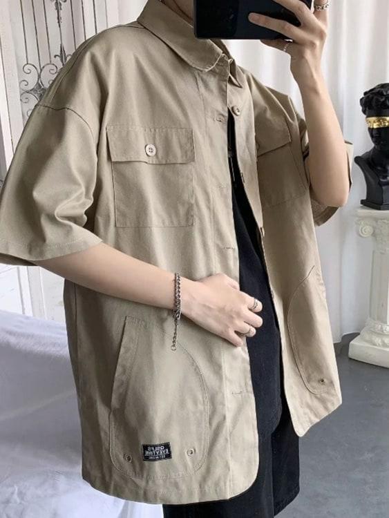 素面工裝.多口袋短袖襯衫