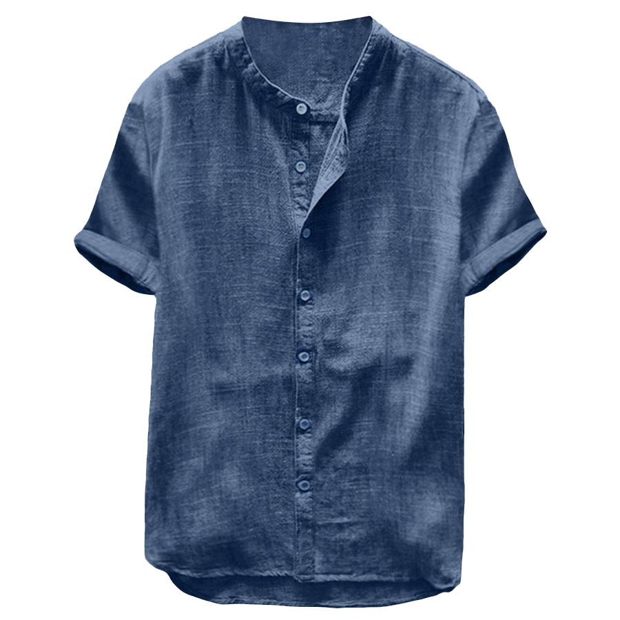 純色透氣棉麻.無領短袖襯衫