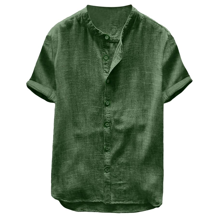 純色透氣棉麻.無領短袖襯衫,,,01030657,純色透氣棉麻.無領短袖襯衫,