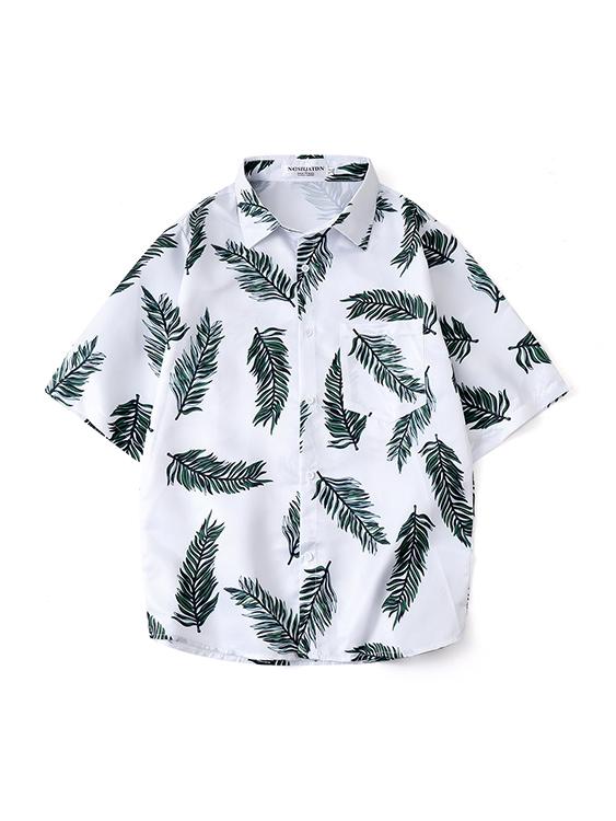 針葉印花 夏威夷短袖襯衫