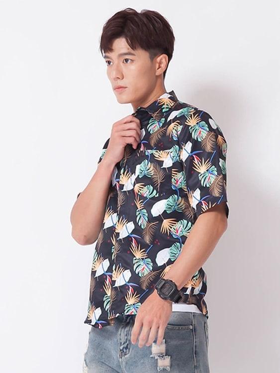 夏日風情花葉 夏威夷短袖襯衫