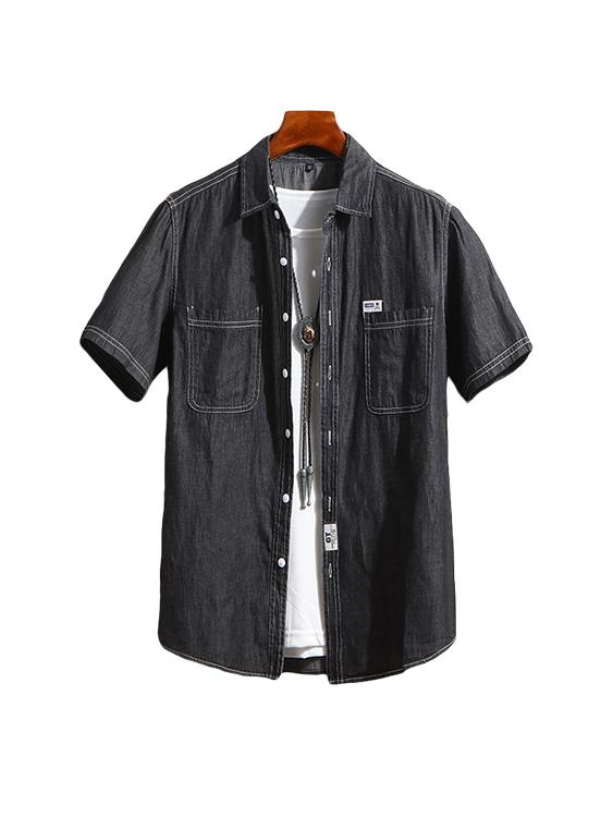 明線設計 牛仔短袖襯衫