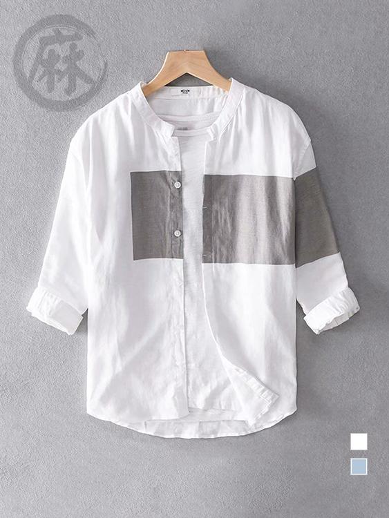 簡約拼色 亞麻立領七分袖襯衫