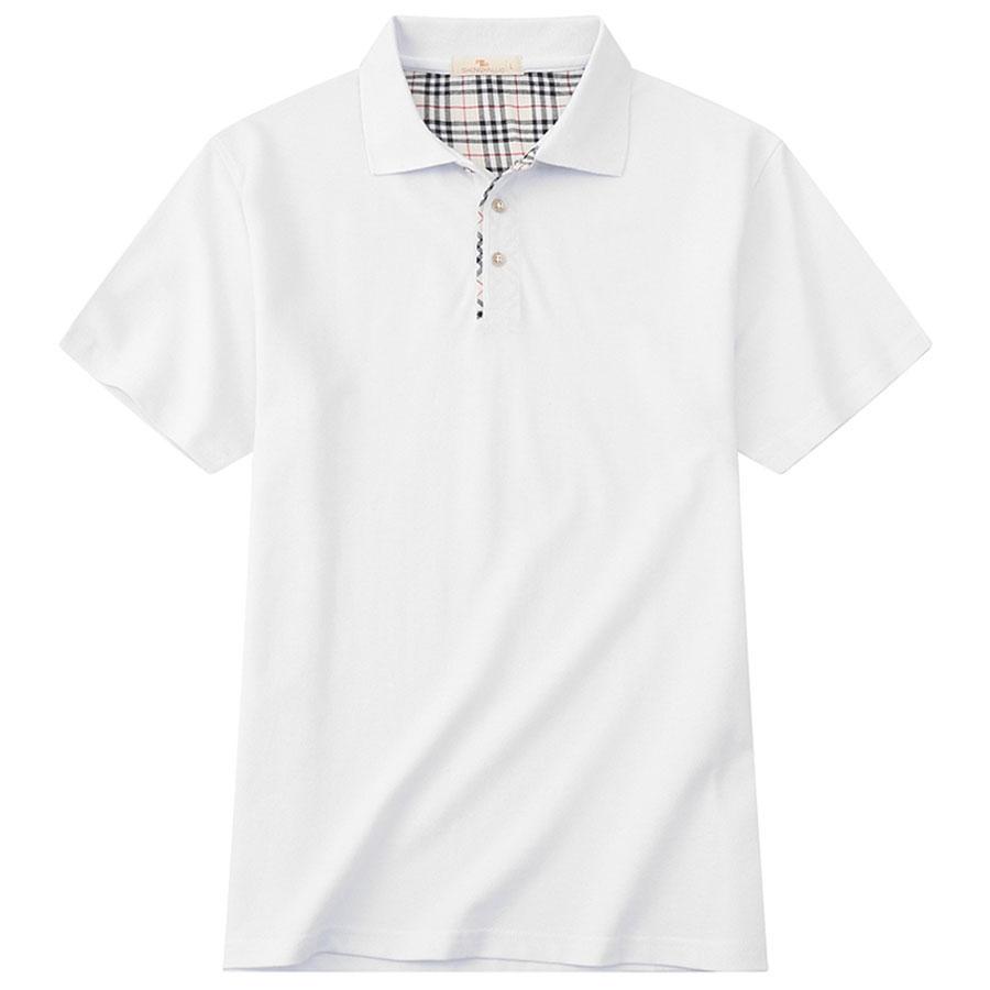 英式格紋領拼接短袖POLO衫,,,01040174,英式格紋領拼接短袖POLO衫,