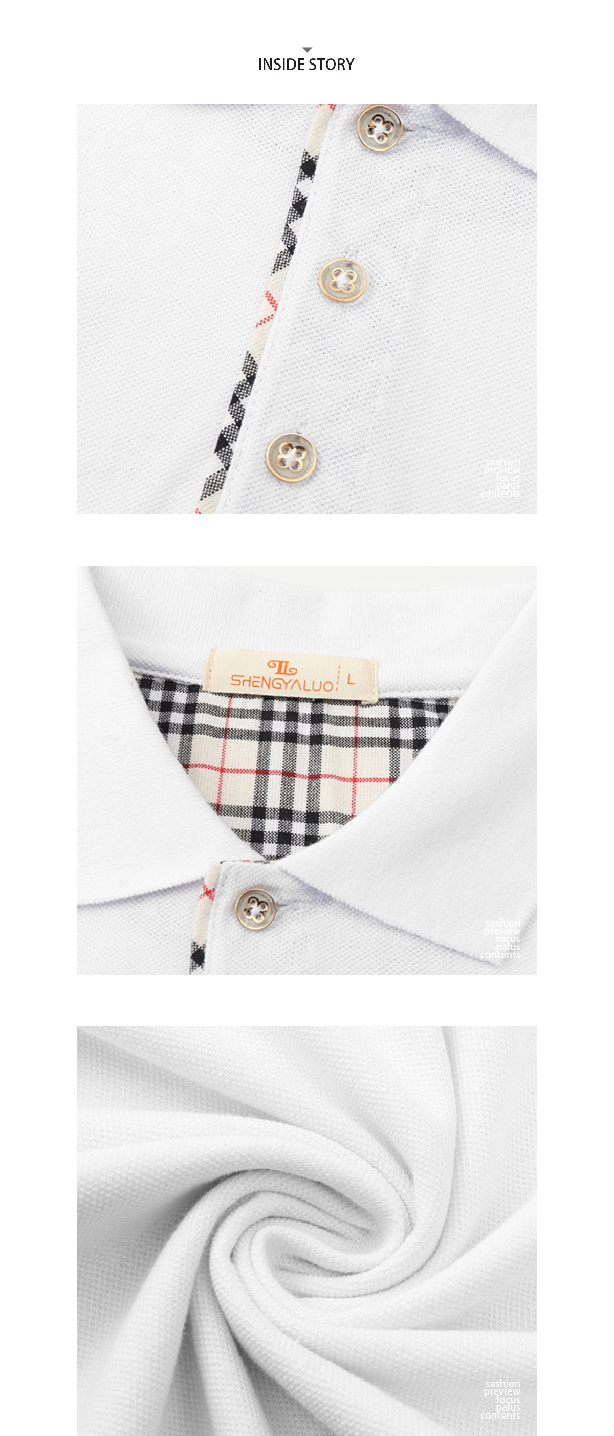 英式格紋領拼接短袖POLO衫