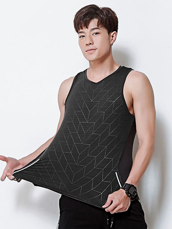 科技感線條窄肩運動背心