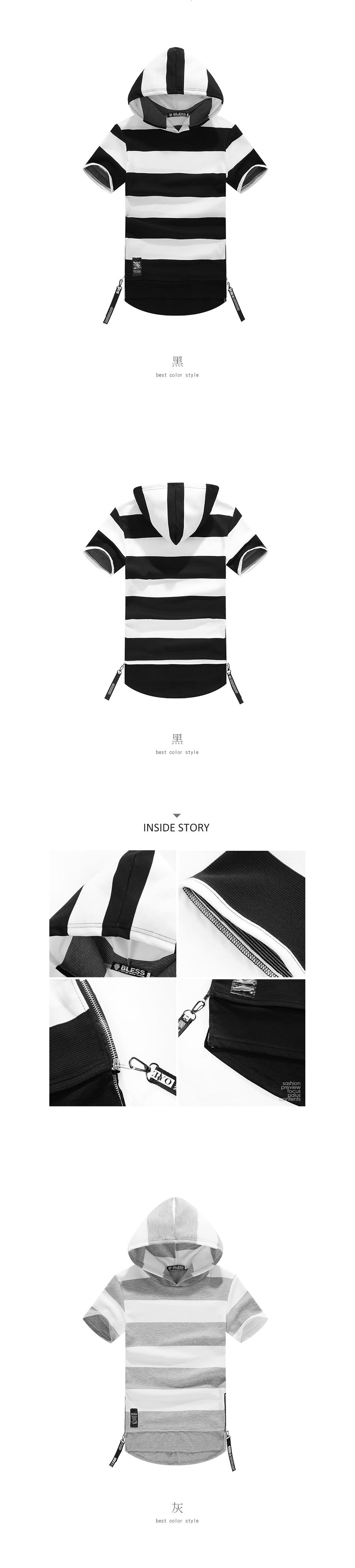 黑白時尚單品.拉鍊設計粗條紋連帽短T.有大碼