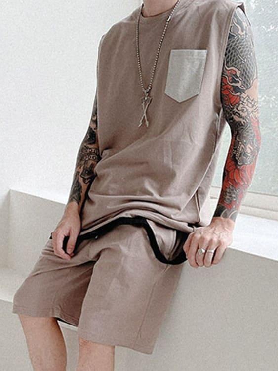韓系時尚 撞色口袋休閒背心