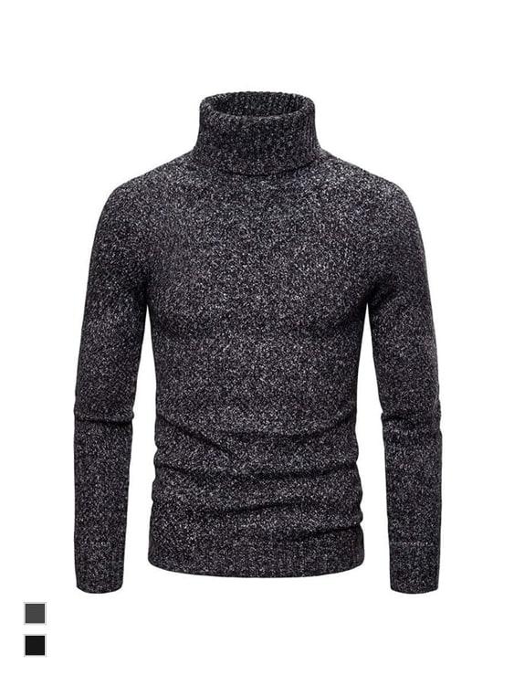 秋冬保暖單品.混色高領套頭毛衣