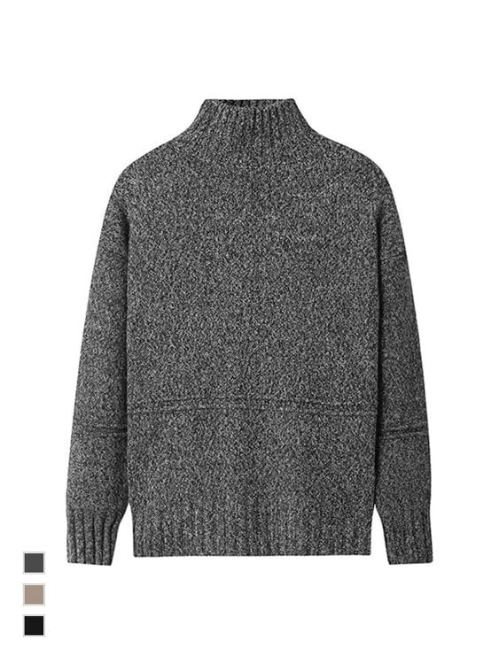 韓國街頭時尚單品.高領混色壓線針織毛衣