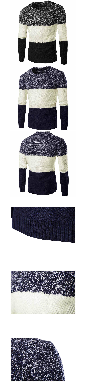 三色拼接.加厚款保暖針織毛衣