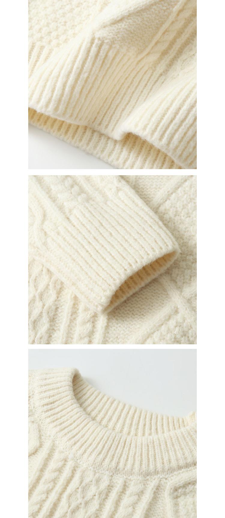 慵懶寬鬆.復古麻花針織毛衣