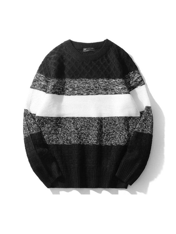 編織狂響.條紋麻花拼接毛衣