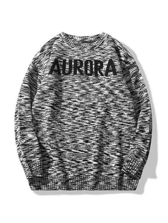 AURORA字母.混色針織毛衣