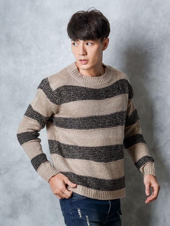 圓領寬條休閒針織毛衣