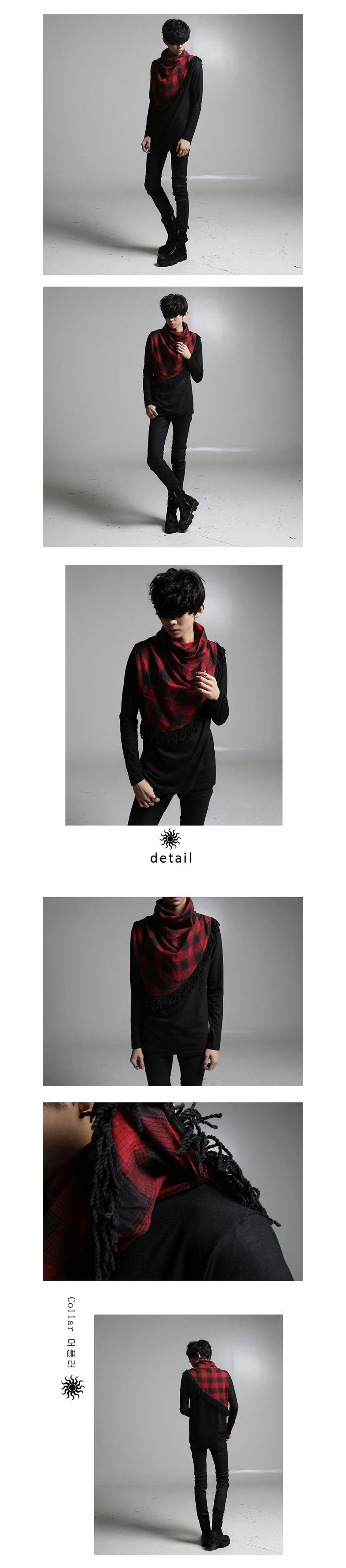 優質韓版設計.圍巾設計造型長T