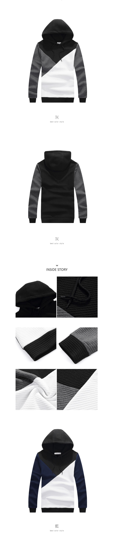 超有型設計單品.三色拼接設計帽T