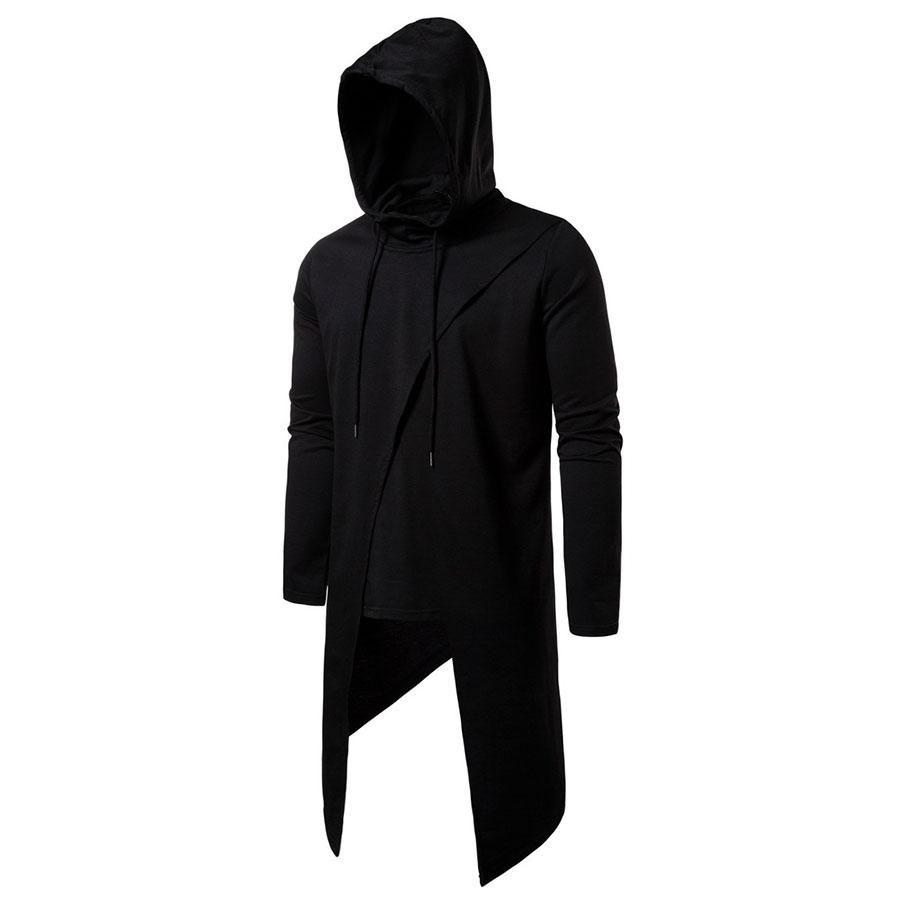 闇黑刺客風格.不規則設計連帽長T,,,01120515,闇黑刺客風格.不規則設計連帽長T,