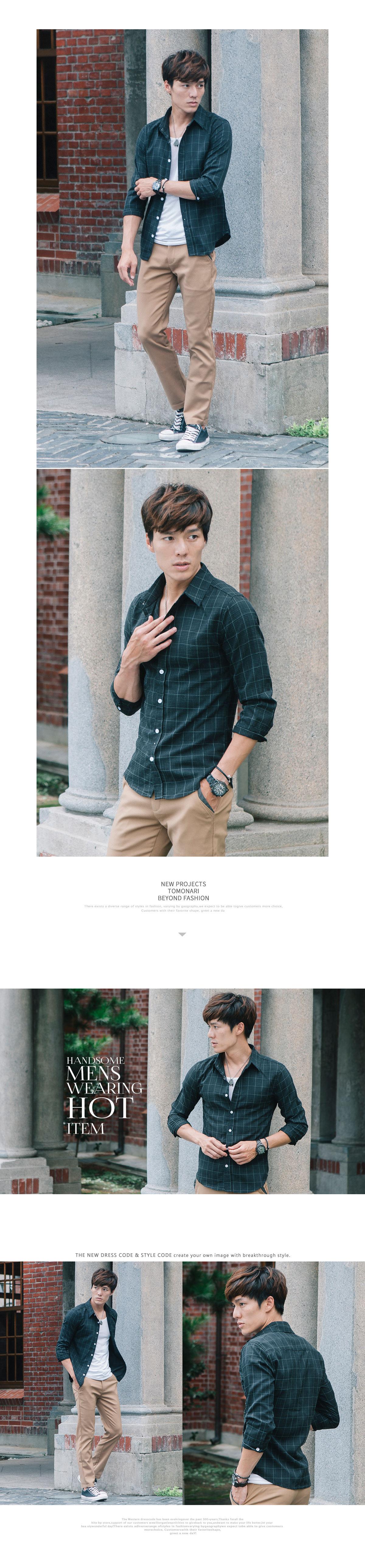 超質感單品.精緻縫線設計七分袖襯衫