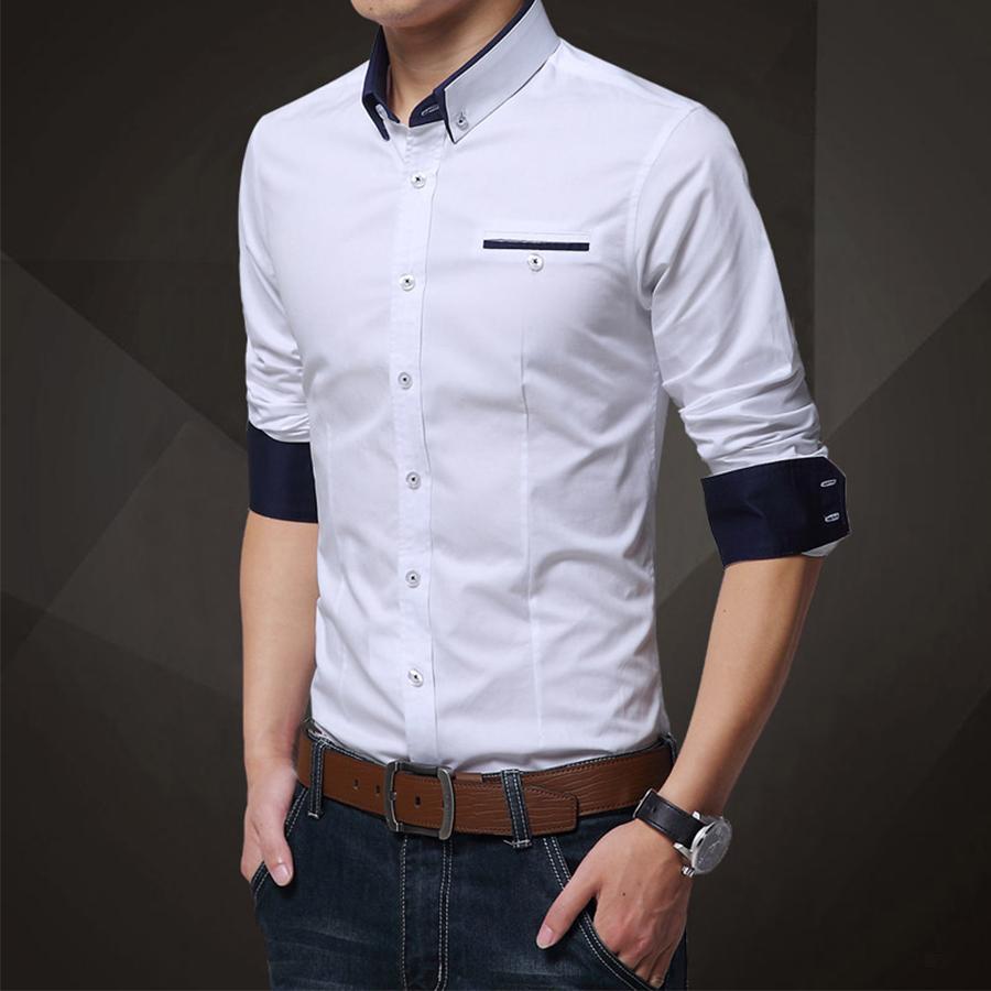 雅痞帥氣風格.撞色領反摺袖襯衫,,,01130534,雅痞帥氣風格.撞色領反摺袖襯衫,