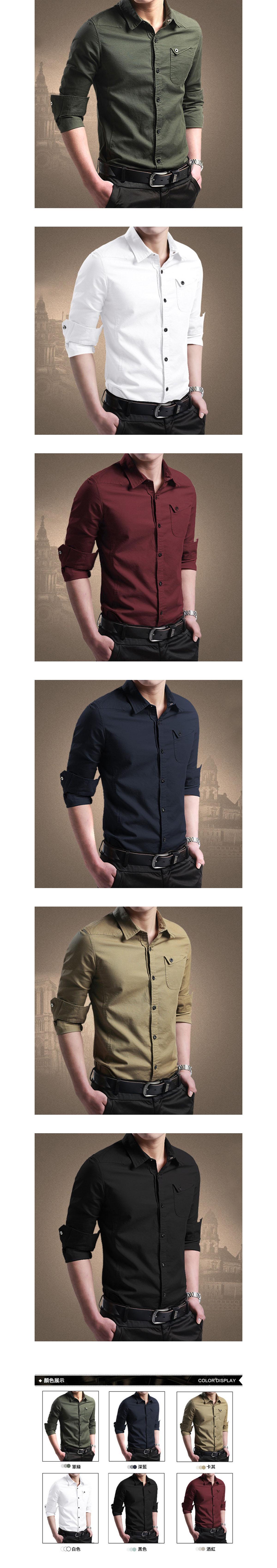 都市型男單品.快釦反折口袋長袖襯衫