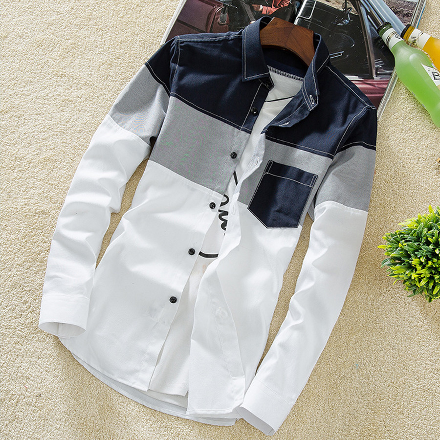 撞色風單品.三色拼接長袖襯衫,,,01130547,撞色風單品.三色拼接長袖襯衫,