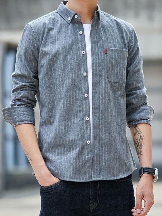 優質韓版設計.條紋設計長袖襯衫