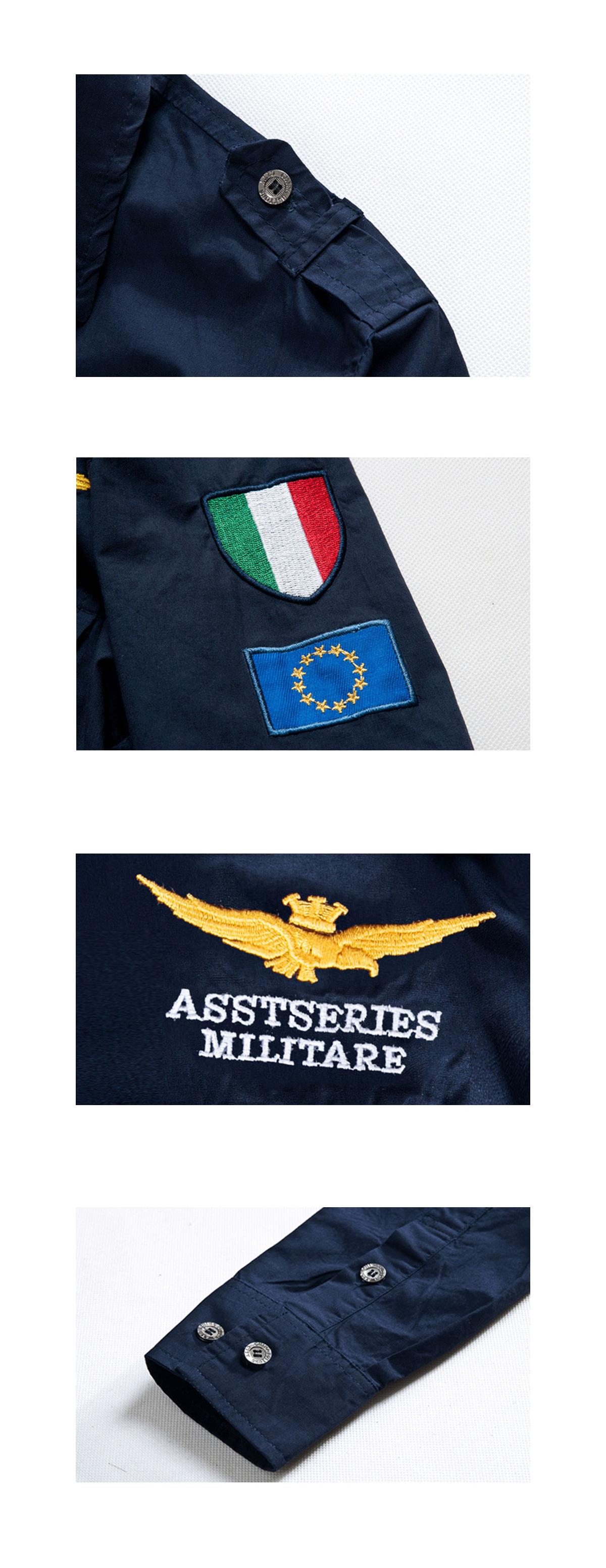 軍風系單品.臂章設計長袖襯衫