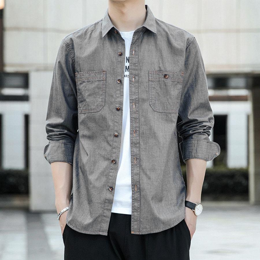 型男必備單品.雙口袋設計丹寧長袖襯衫,,,01130577,型男必備單品.雙口袋設計丹寧長袖襯衫,