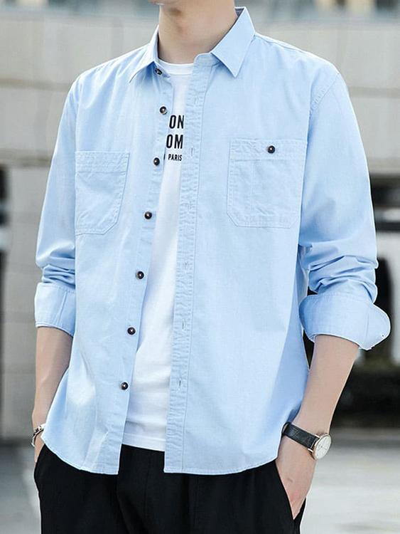 型男必備單品.雙口袋設計丹寧長袖襯衫