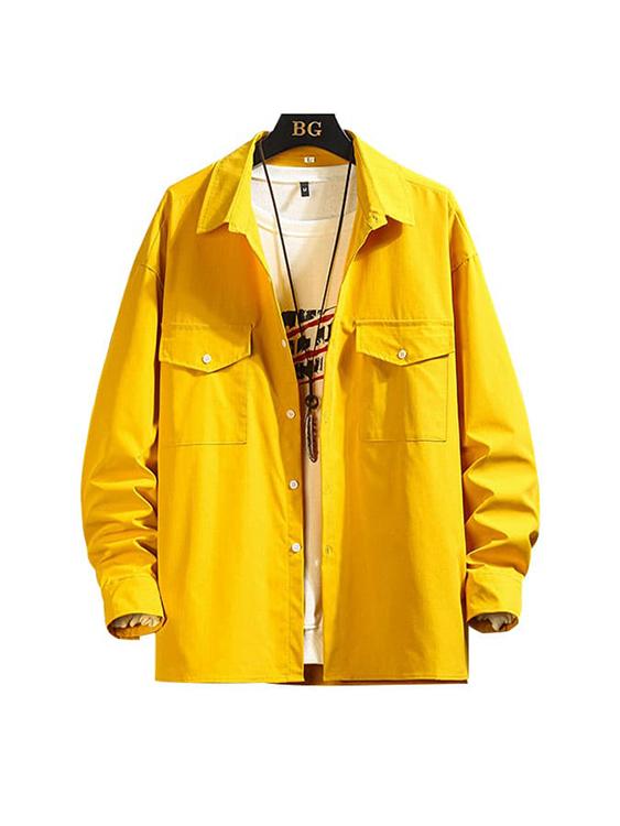 百搭多色.素面雙袋襯衫外套