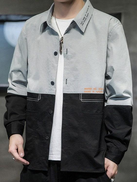 時尚拼接撞色.雙口袋長袖襯衫