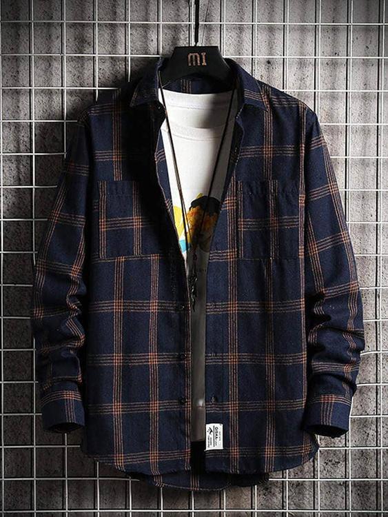 撞色線條格紋長袖襯衫